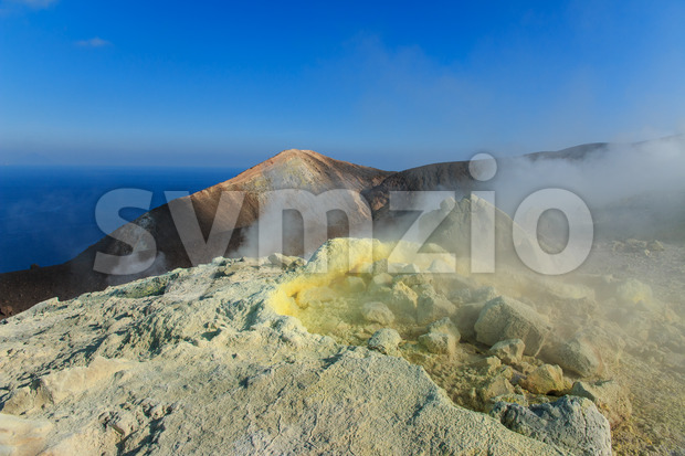 Volcano on Vulcano island Sicily Stock Photo