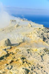 Edge volcano on Vulcano island Sicily Stock Photo
