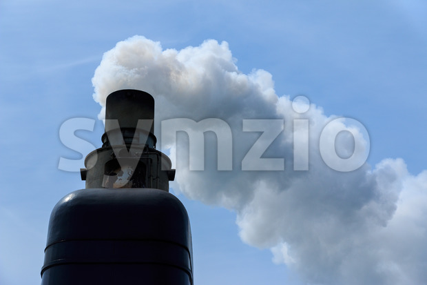 Exhaust pipe of old ship Stock Photo
