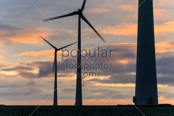 Huge windmill in motion at sunset