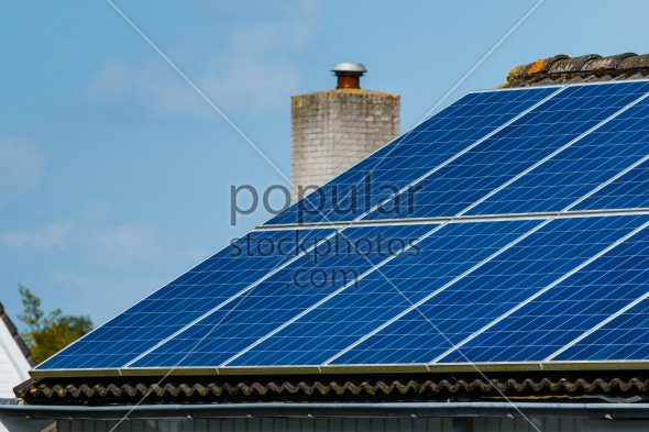 Solar panels roof house
