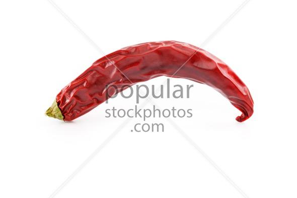 Dried red hot chili pepper studio side