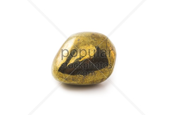 Pyrite stone on white background