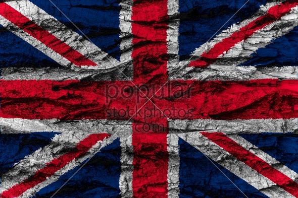 United Kingdom national flag painted wooden bark tree