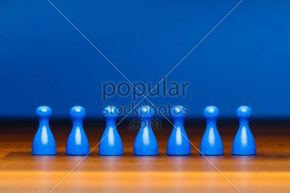 Concept team, business, organization, blue on wood