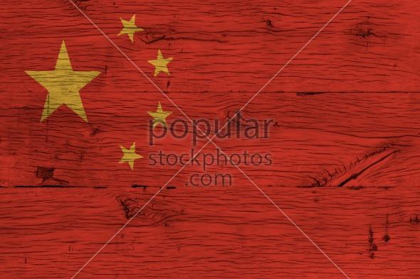China national flag painted old oak wood