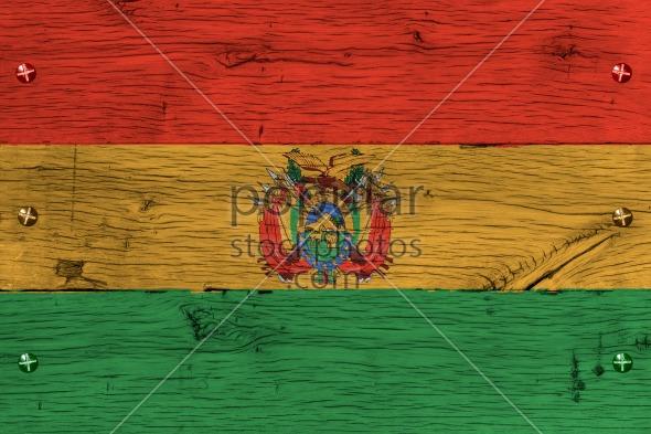 Bolivia national flag painted old oak wood fastened