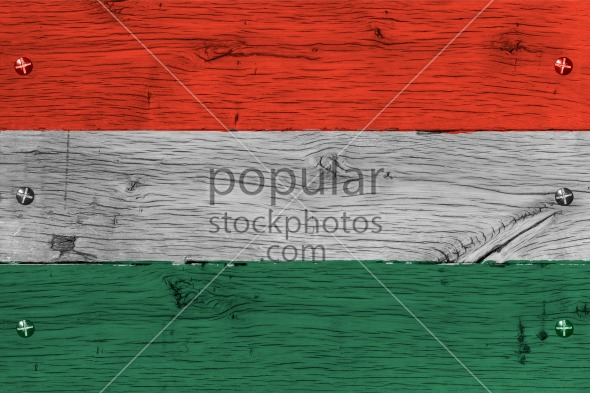 Hungary national flag painted old oak wood fastened