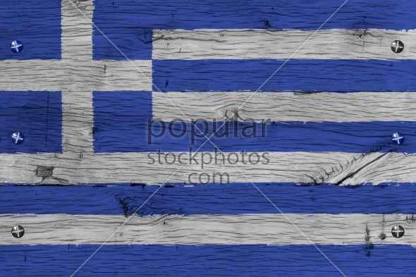 Greece national flag painted old oak wood fastened