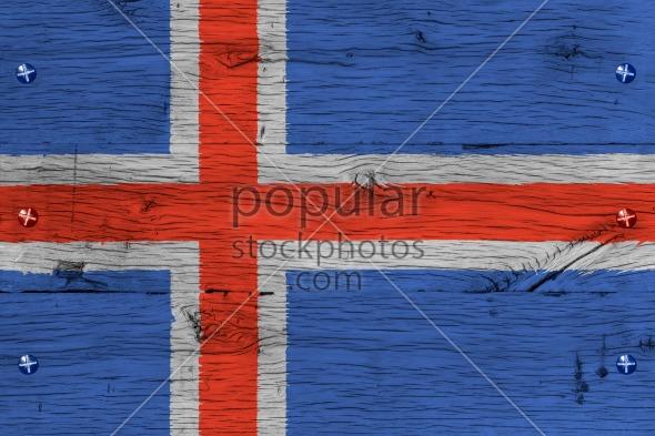 Iceland national flag painted old oak wood fastened