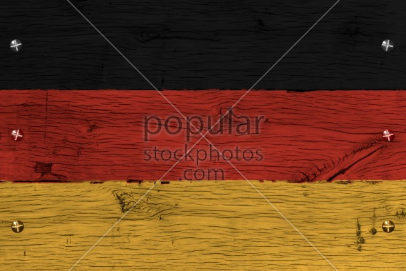 Germany national flag painted old oak wood fastened