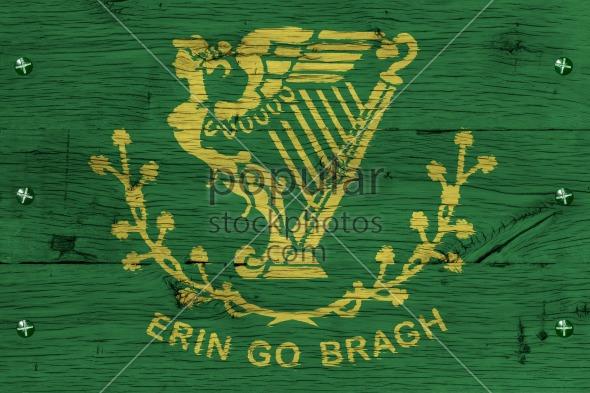 Erin Go Bragh flag painted old oak wood fastened