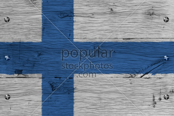 Finland national flag painted old oak wood fastened
