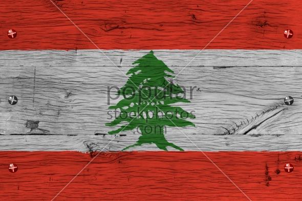 Lebanon national flag painted old oak wood fastened