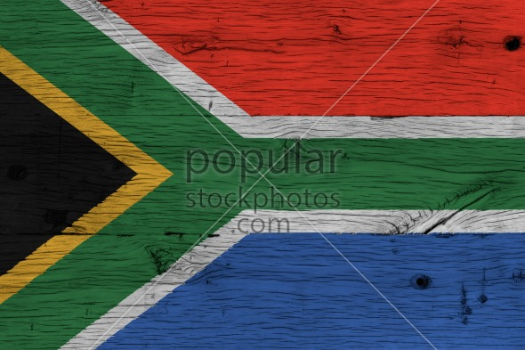 South Africa national flag painted old oak wood