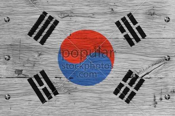 South Korea national flag painted old oak wood fastened