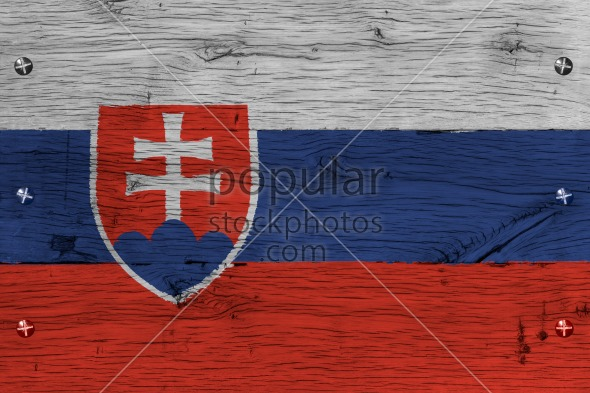 Slovakia national flag painted old oak wood fastened