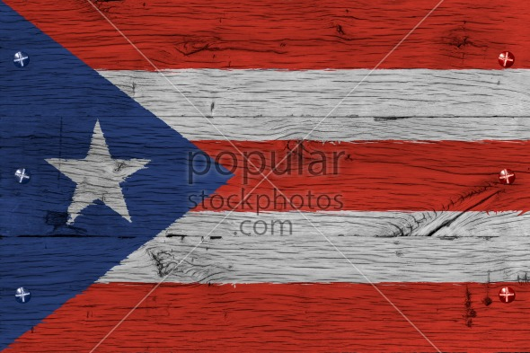 Puerto Rico national flag painted old oak wood fastened
