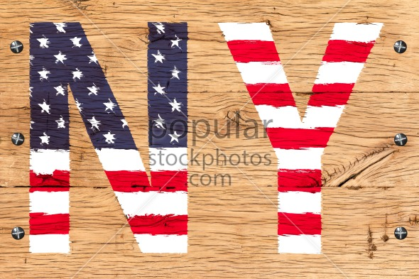 NY painted with pattern of flag United States old oak wood fastened