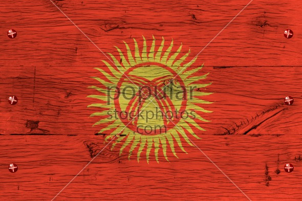 Kyrgyzstan national flag painted old oak wood fastened