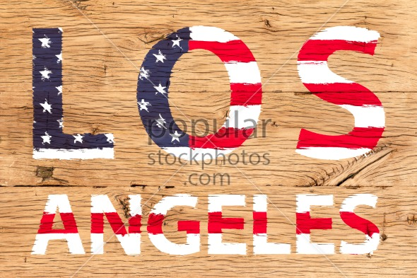 Los Angeles painted with pattern of flag United States old oak wood
