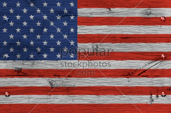 USA American national flag painted old oak wood fastened