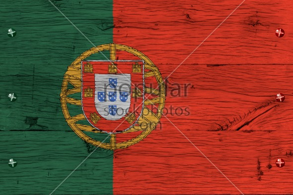 Portugal national flag painted old oak wood fastened