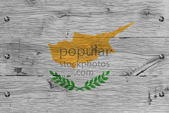 Cyprus national flag painted old oak wood fastened