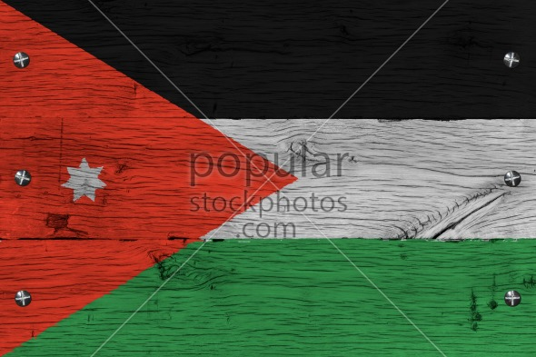 Jordan national flag painted old oak wood fastened