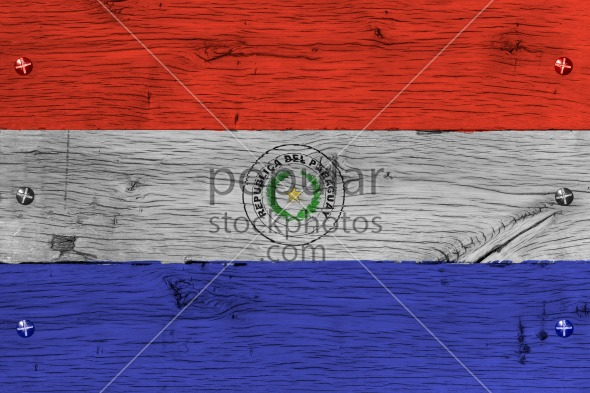 Paraguay national flag painted old oak wood fastened
