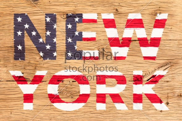 New York painted with pattern of flag United States old oak wood